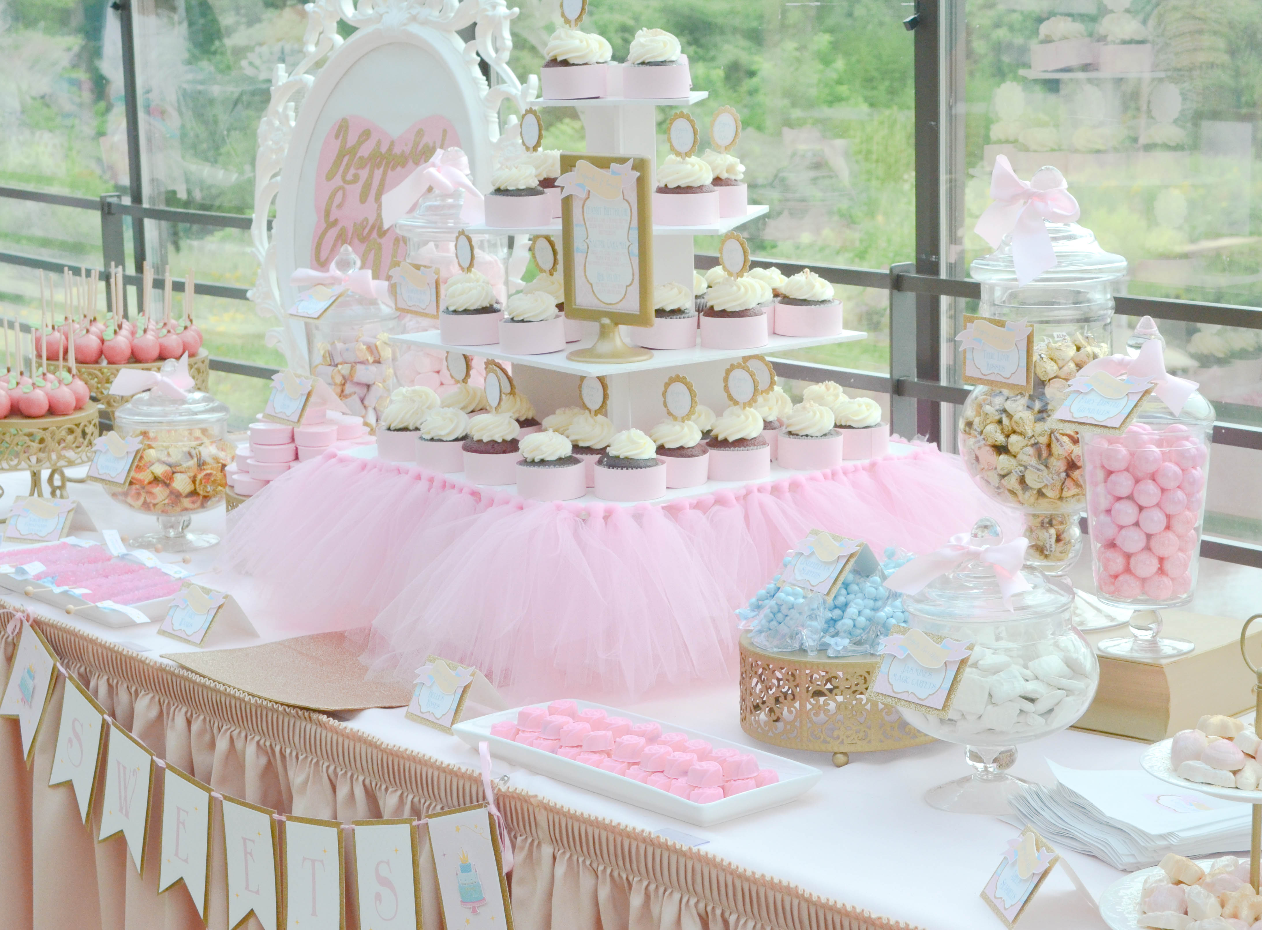 pink and gold dessert table  CW distinctive DESIGNS