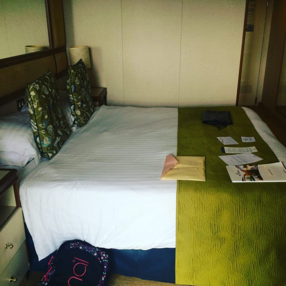 azura balcony cabin, queen size bed in cabin