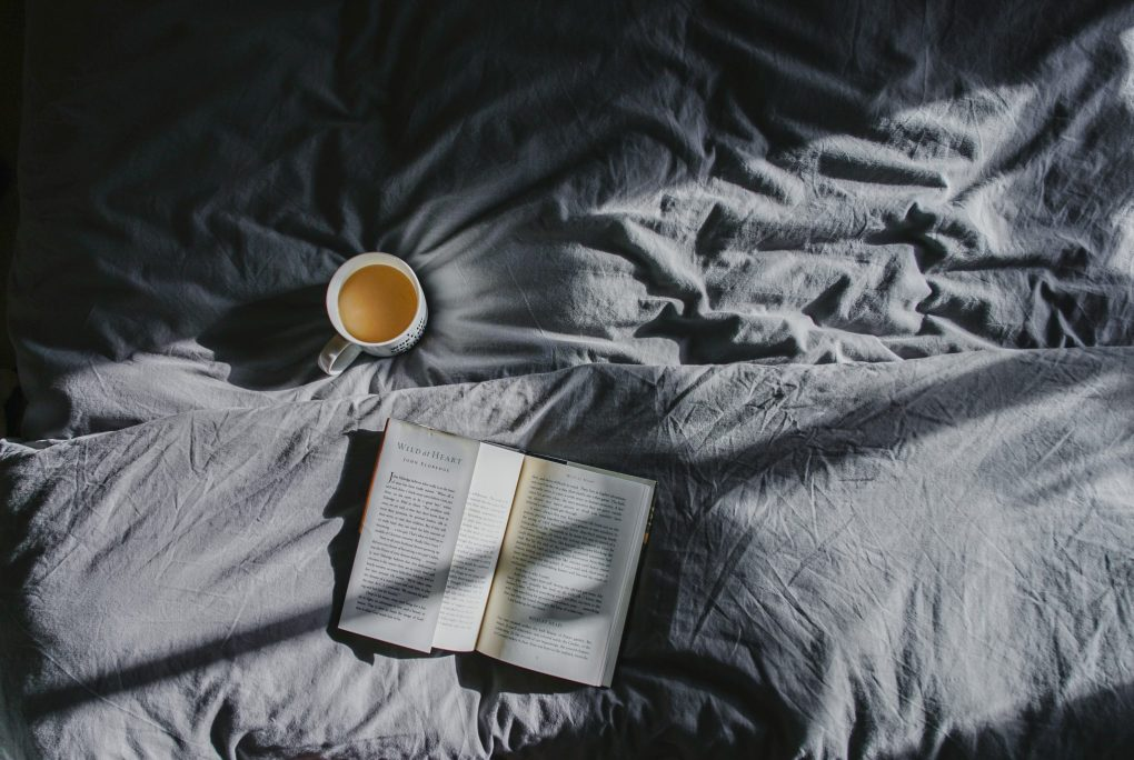 sleep, bed, coffee, book