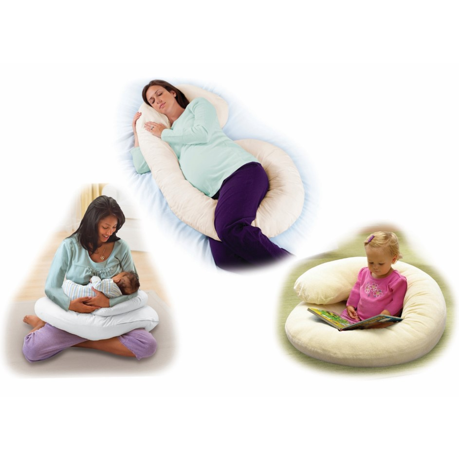 Summer Infant Pregnancy Support Pillow showing you three ways to use the pillow during pregnancy and post natal