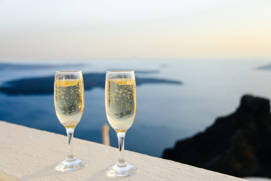 honeymoon glasses of champagne