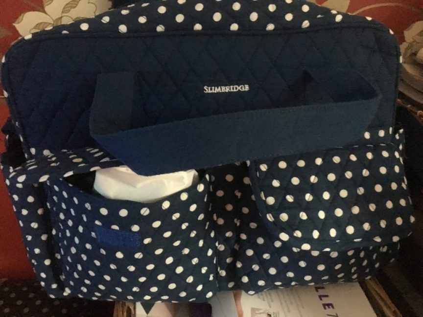 changing a newborn, Blue polka dot change bag