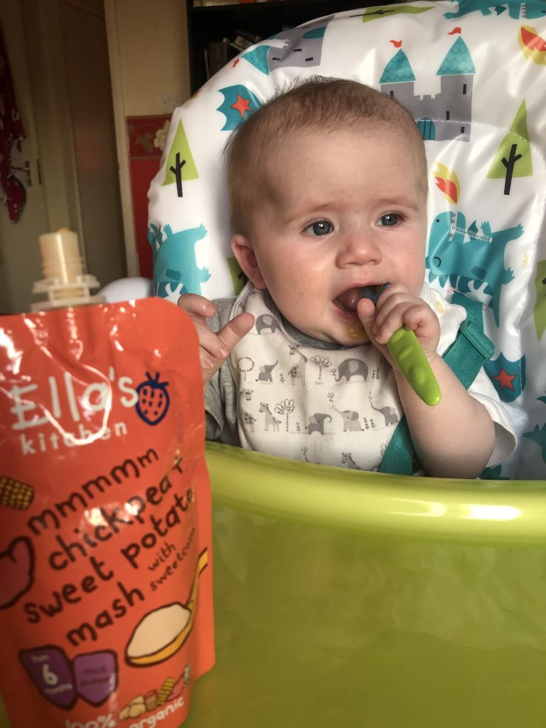 Felix Eating Puree whilst weaning at 7 months old