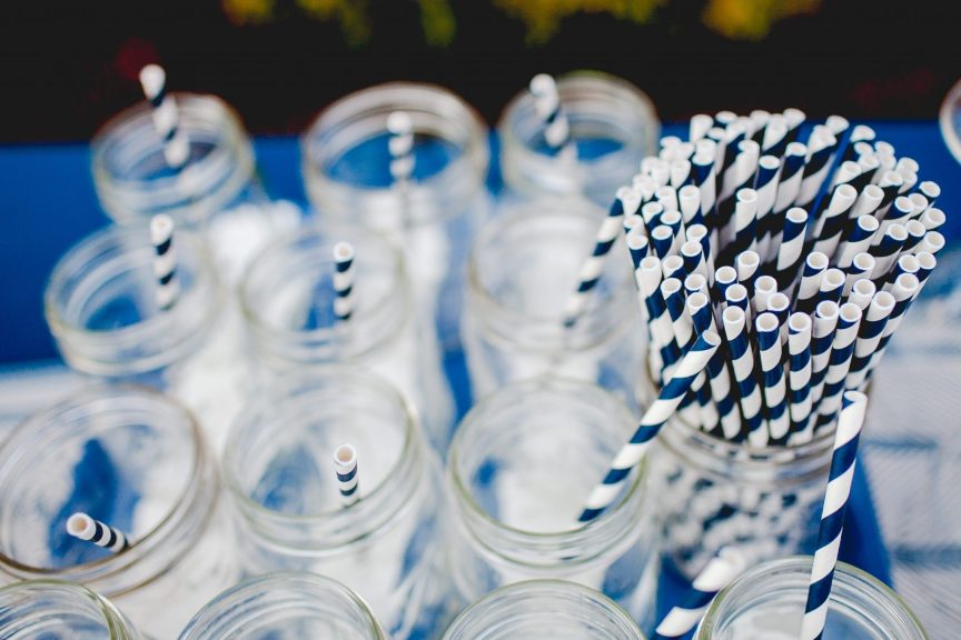 paper straws in glass bottles for eco friendly living