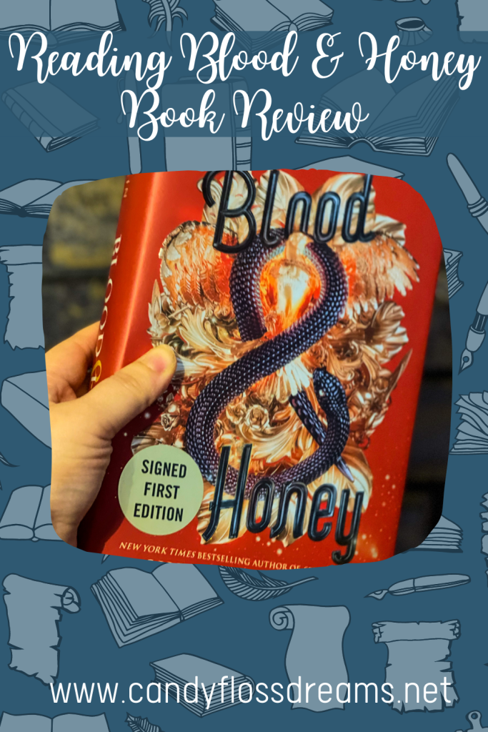 blood and honey book review - a pin image for the review of the second book in the serpent and dove trilogy.