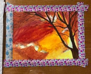 Winter Sunburst in progress watercolor