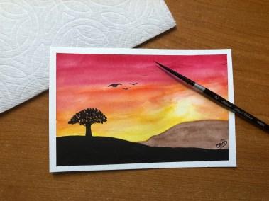 Golden Sunset watercolor