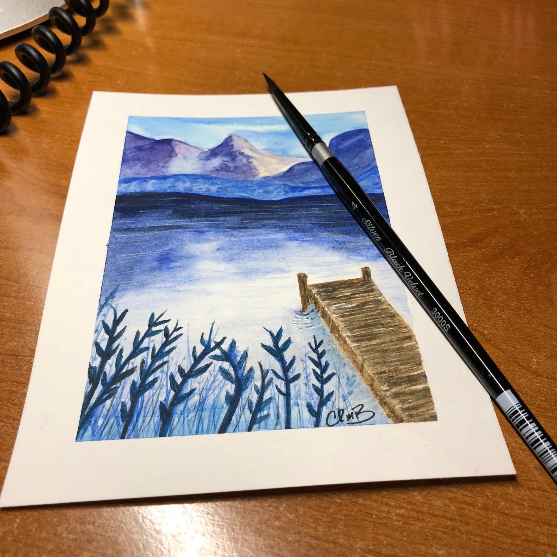 Watercolor – Pier on Lake