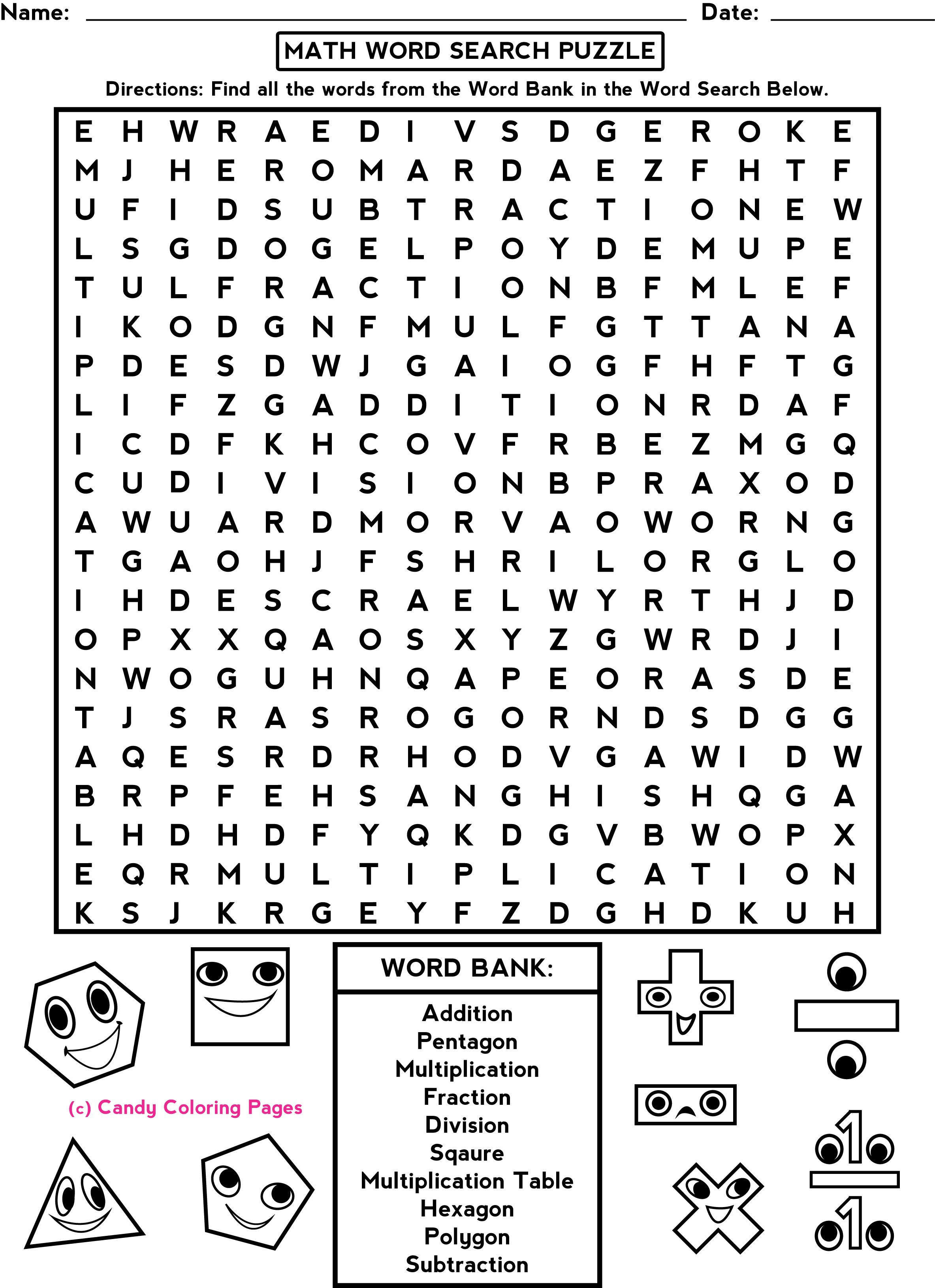 Candy Worksheet 1st Grade