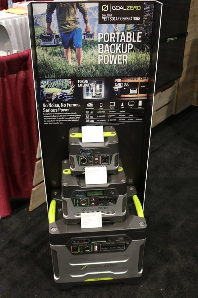 Solar powered generators by Goal Zero at the National Hardware Show. Photo: Lisa Stewart Photography