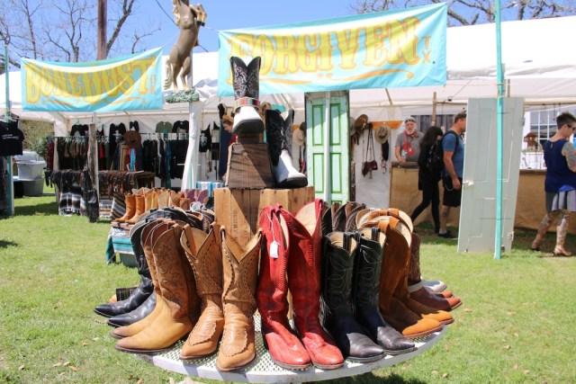 Vintage cowboy boots were abundant in Round Top. Photo: Lisa Stewart Photography