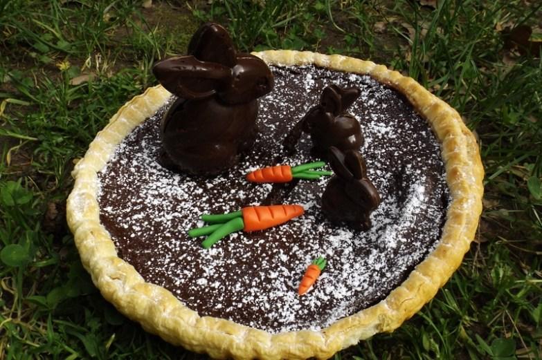 Tarte au chocolat de Pâques et ses lapins en chocolat façon CRUNCH3