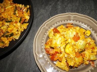 Ravioles poêlés à l'italienne ( courgette, gorgonzola et coppa )2