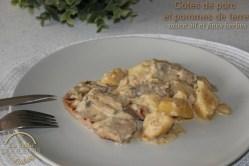 Côtes de porc et pommes de terre sauce ail et fines herbes