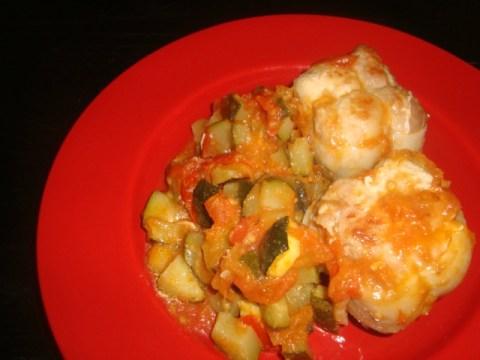 Paupiettes à la courgette aux tomates et aux épices cajun