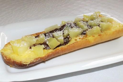 Tartine de pain perdu exotique (choco-coco et ananas)