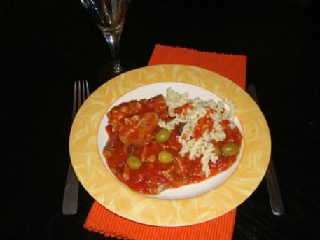 Sauté de dinde aux olives