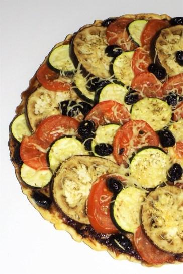 Tarte façon tian aux olives noires