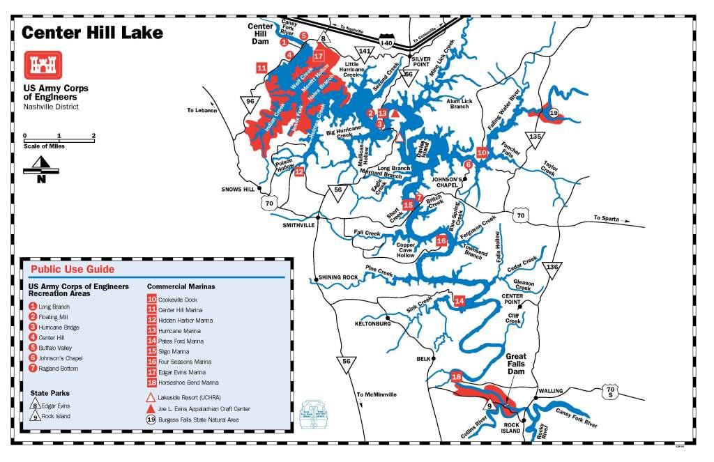 Center Hill Lake Map