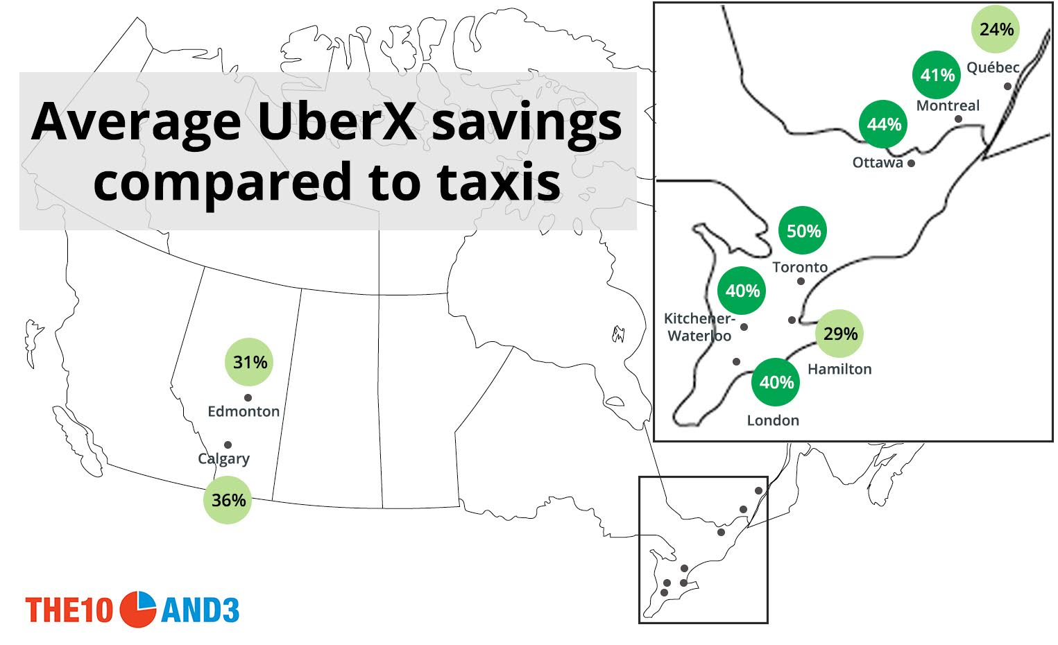 Uber vs. taxi: mapping price differences in Canada