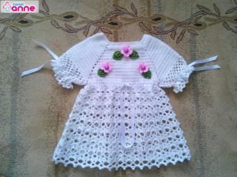 Tığ işi örgü bebek elbise takımı yapımı (1)