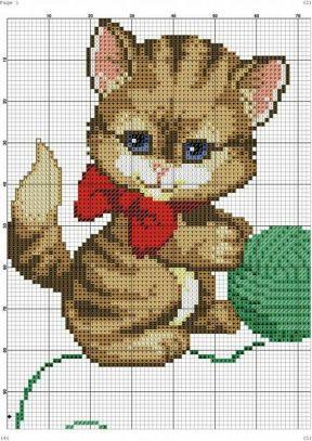 Kanaviçe (Etamin) Kedi Şablonları (39)