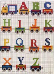 Kanaviçe, etamin alfabe, harf ve rakam şablonu (21)