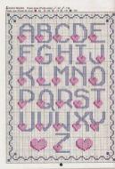 Kanaviçe, etamin alfabe, harf ve rakam şablonu (23)
