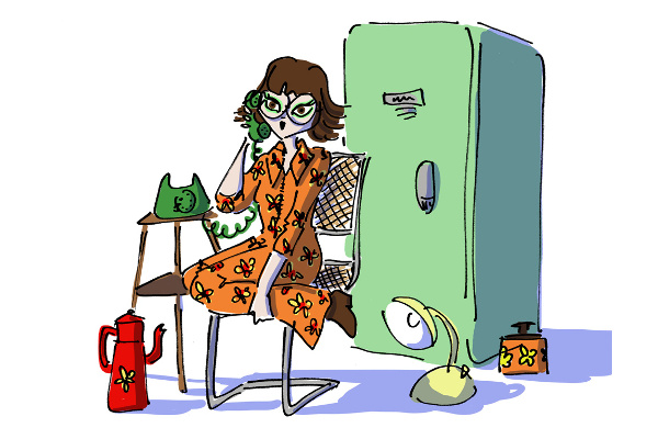 Hipster girl with vintage fridge and vintage phone
