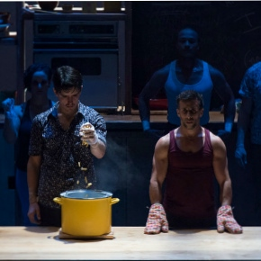 Two men cooking during Cuisine and confessions show