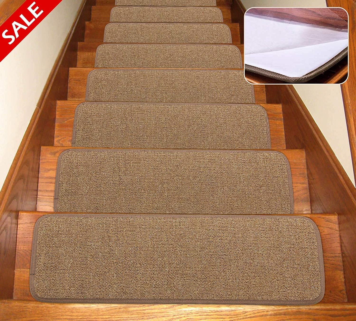 Self Adhesive Non Slip Carpet Stair Treads Canine Arthritis | Carpet Treads For Wooden Stairs | Commercial Rubber | Rectangular Cord Treads | Carpet Wrapped | Self Adhesive | Different Style Stair