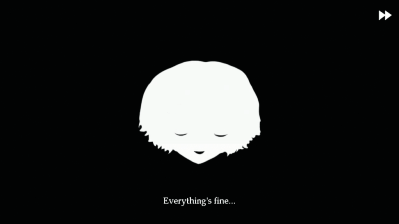 """Silhouette of Fran from Fran Bow. Text says """"Everything's fine..."""""""