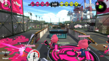A level covered in pink paint in Splatoon 2.