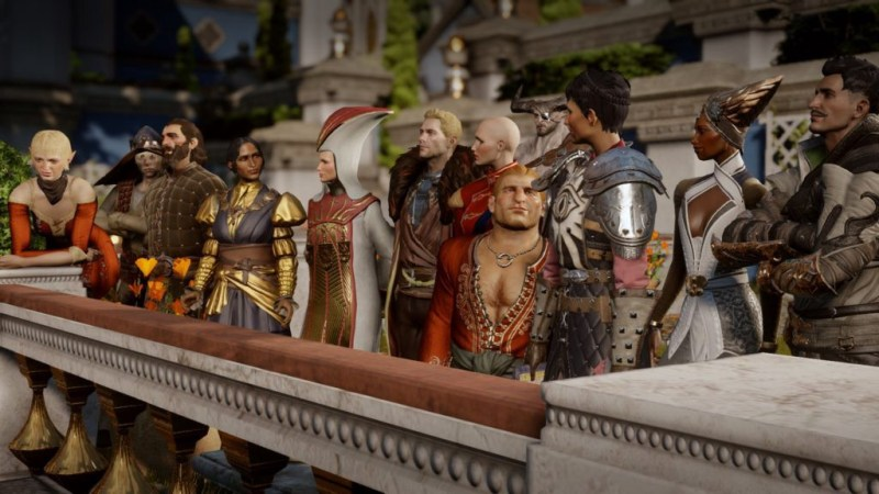 The whole cast of Dragon Age Inquitision.