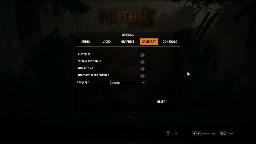 Gameplay options including subtitle toggle and language