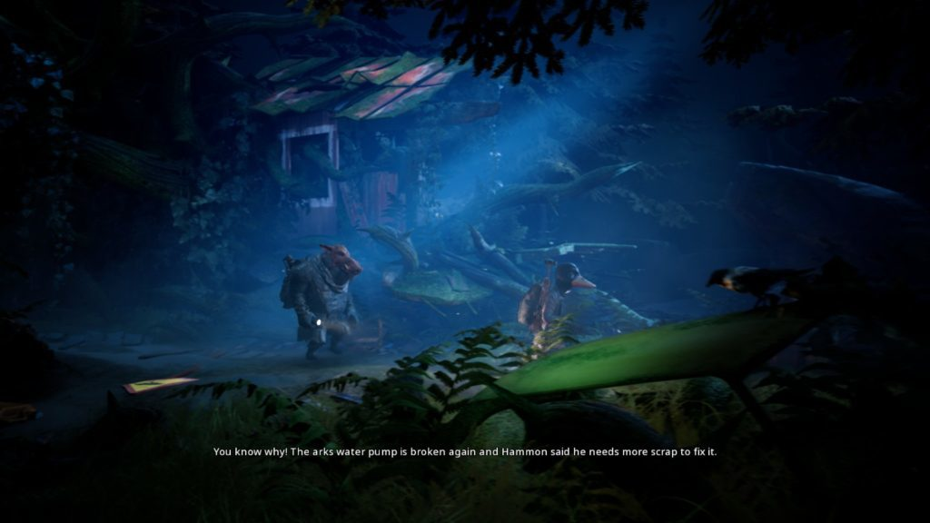 """Bipedal warthog and duck walking through dark forest area with flashlights. Subtitle text reads, """"You know why! The arks water pump is broken again and Hammon said he needs more scrap to fix it."""""""
