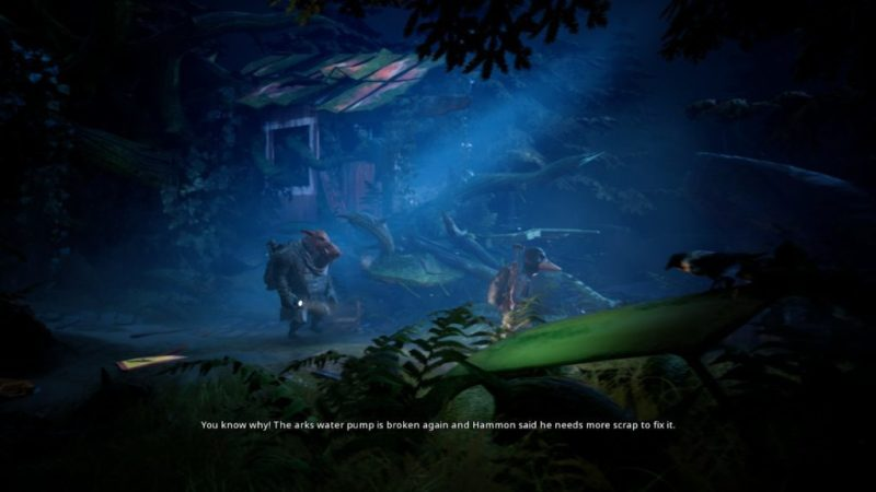 "Bipedal warthog and duck walking through dark forest area with flashlights. Subtitle text reads, ""You know why! The arks water pump is broken again and Hammon said he needs more scrap to fix it."""