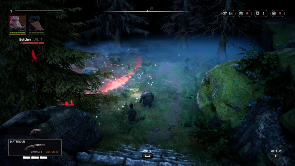 Bipedal duck and warthog on forest path with enemy indicated in red at top left and large red ring indicating enemy line of sight.