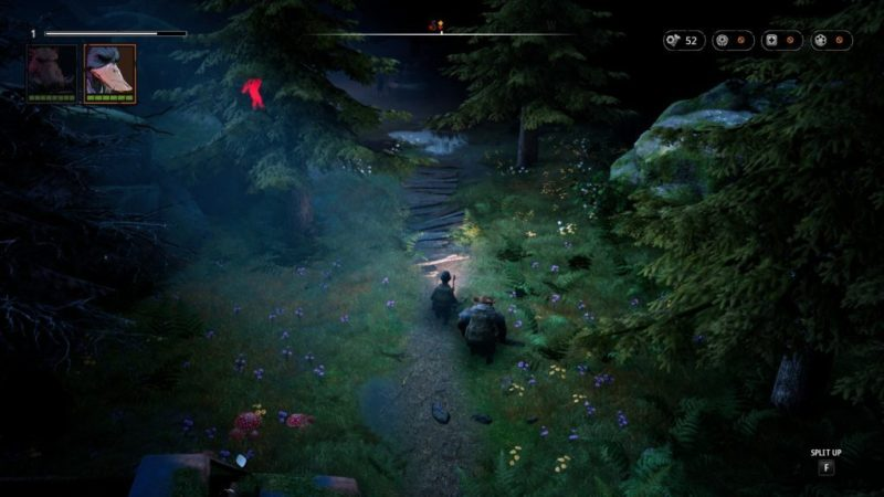 Bipedal duck and warthog walking along forest path. Enemy shown in bright red silhouette in the far left.