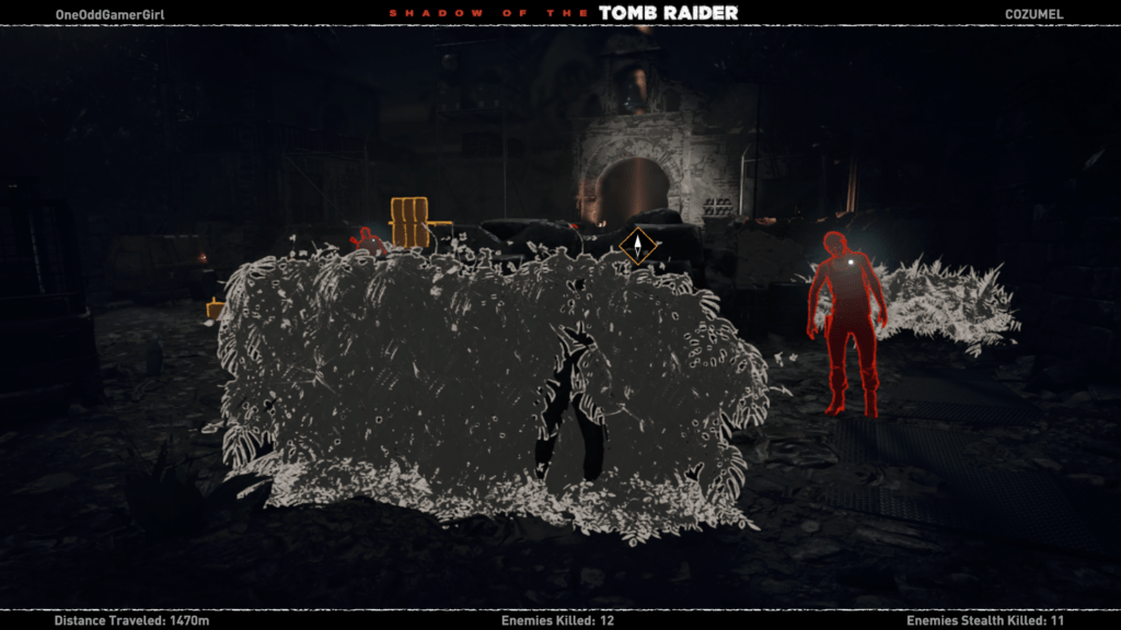 Special vision mode showing enemies with red glow and items with yellow glow.