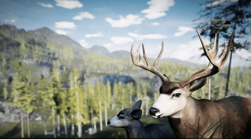 Profile of male and female deer with valley and mountain in background.
