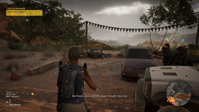 """Character standing in rain, text of teammate saying """"Bet these cartel assholes never thought they'd be..."""""""