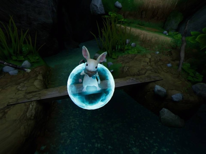 Moss standing on a wooden plank over water with blue orb hovering over her.