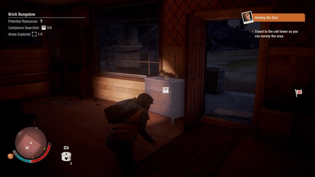Player character sneaking at night, flashlight illuminating a small dresser.