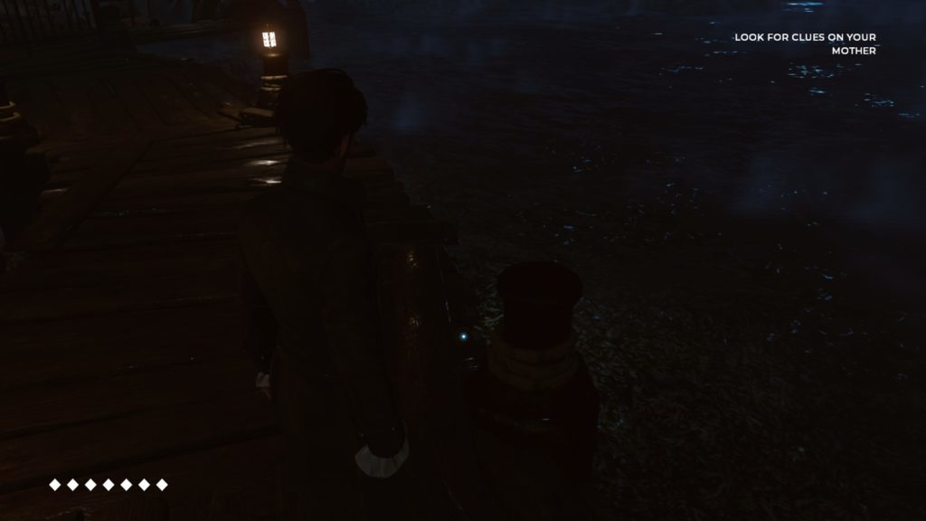 Dark scene on a dock. Image illustrates the subtle visual cues for collectibles.