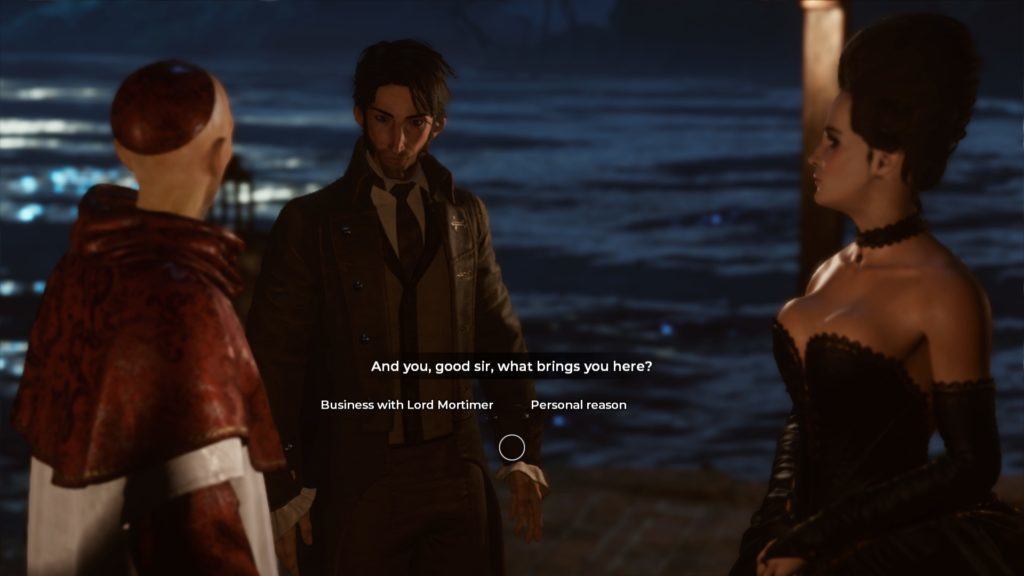 Religious man, main character, and woman in a black evening gown. Dialogue choices displayed.