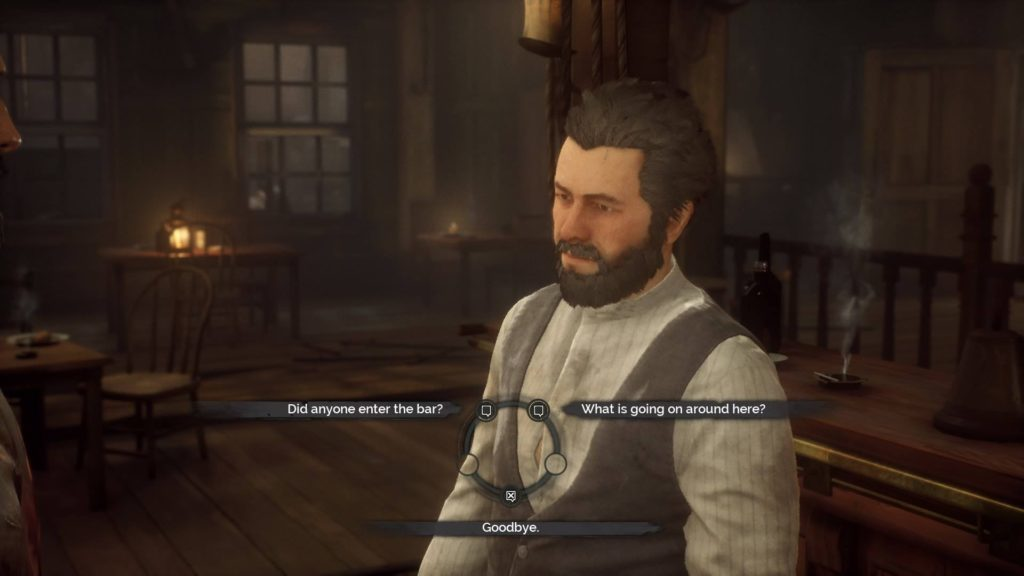 Dialogue scene with three options highlighted.