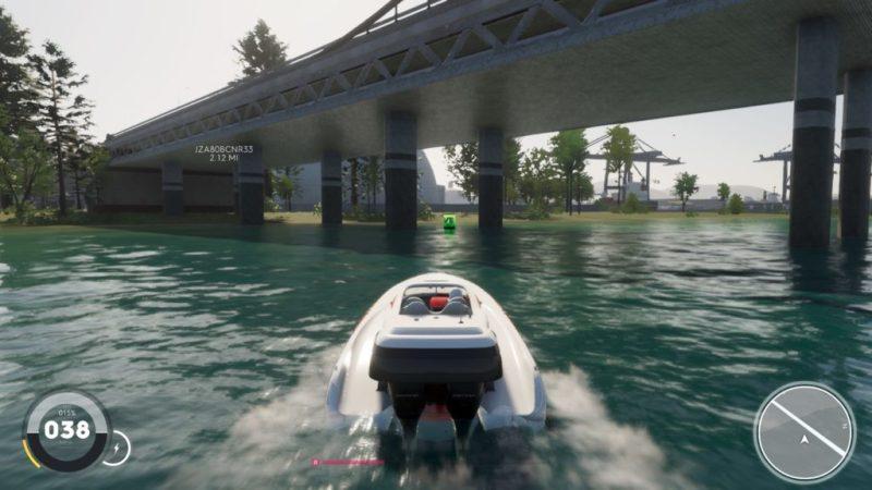 Driving a boat under a bridge.