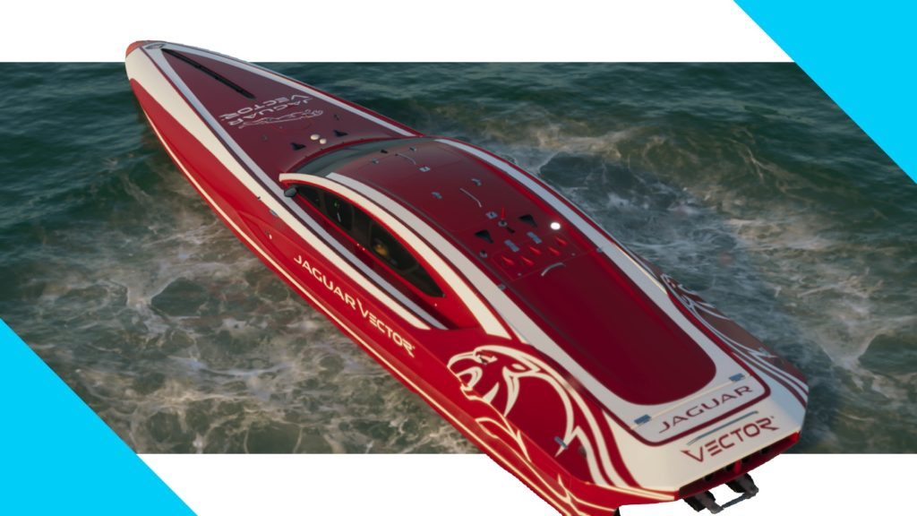 Red racing boat on water