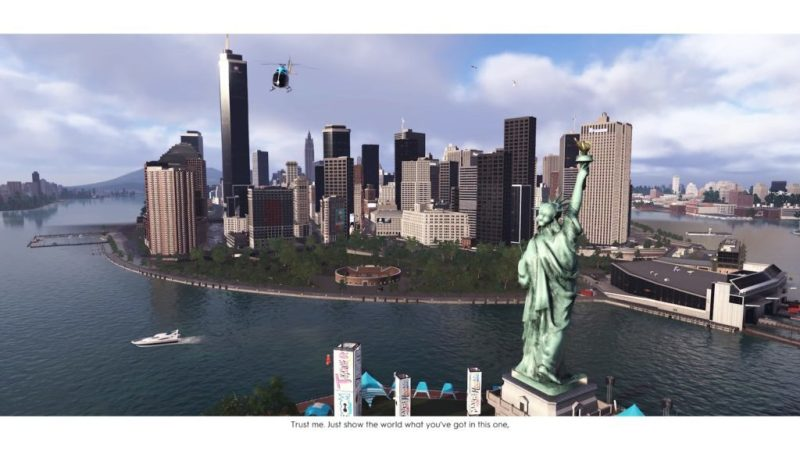 Flying above the Statue of Liberty